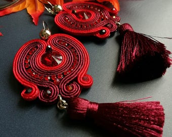 Elegant Red Ruby Crystal Soutache Earrings Statement Dangle Earrings Ethnic Boho Chic Red Maroon Tassel Earrings