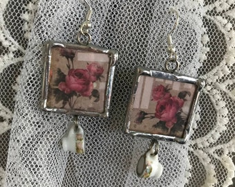Silver Soldered Rose and Teacup Earrings