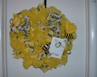 Bubble Bee Wreath-Deco Mesh