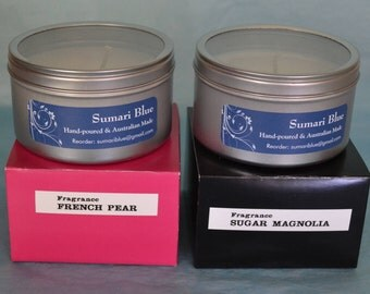 2 x Beautiful Hand-poured & Made 'Sumari Blue' Soy Candle Large Travel Tins