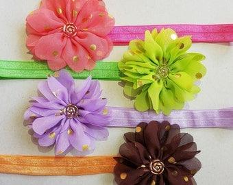 Baby chiffon flower Headband, baby flower headband, chiffon headband, baby headband, toddler headband, flower headband, elastic headband