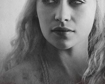 Daenerys Targaryen-Khaleesi Portrait Printing On Canvas, Wall Art, Canvas Prints, Room Deco, Famous Person, Emilia Clarke, Game of Thrones