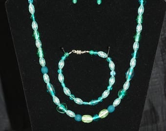 Sea Green Necklace, Bracelet and Earring Set