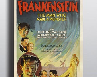 Frankenstein, Man Who Made a Monster - Vintage Classic Movie Poster Print