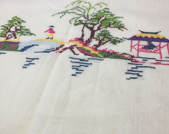 Sheer cotton Asian tablecloth vintage embroidered