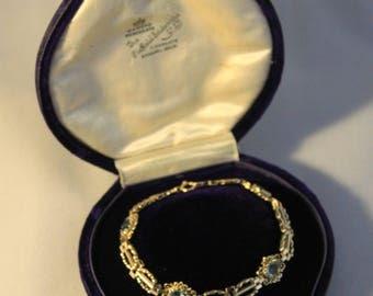 Vintage blue topaz and 9ct gold bracelet