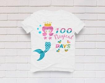 100 days svg, School svg, 100th days of school svg, 100 magical days svg, Mermaid svg, Teacher svg, SVG, DXF, eps, png, pdf, Svg for girl