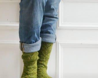 Cardener chaussettes, chaussettes de la maison confortable tricoté à la main (laine et alpaga)