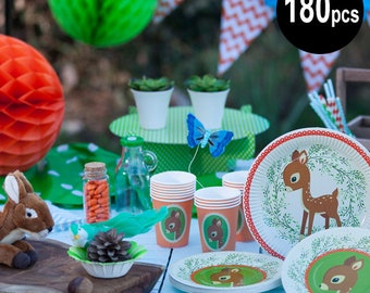 180 pcs Woodland Animals partyware, Bambi party supplies, birthday party decorations, fawn party plates, woodland party set