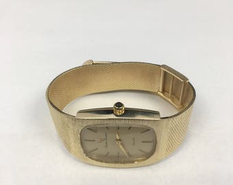 solid Gold Lucien Piccard watch / 14kt