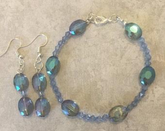 Jewelry Set, Women's Bracelet and Earrings Set,  Blue Bracelet and Earrings Set