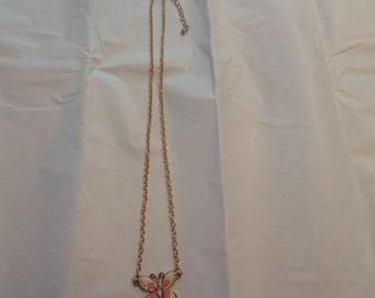 Vintage butterfly necklace on gold toned chain