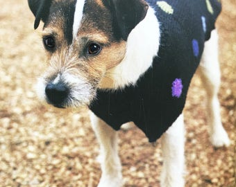 Dog Coat with Dots, All sizes, Knitting Pattern
