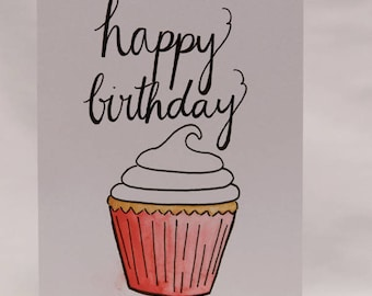 Happy Birthday w/ cupcake Card