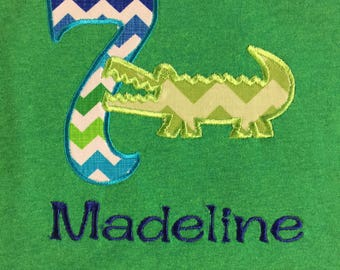 Happy Birthday!  Personalized Alligator First Birthday Embroidered and Applique Shirt