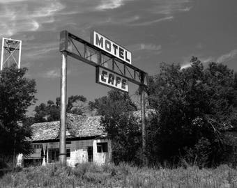 First Motel in Texas - 12x18 Print