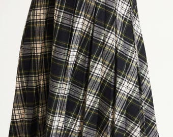 Pleated Plaid Wool Skirt
