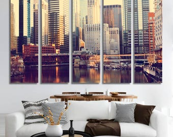 Chicago Canvas Print Chicago Skyline Chicago Print Art Print Home decor Travel print Wall Art Chicago Cityscape Chicago Skyscrapers