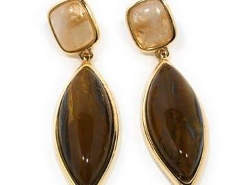 Tiger Eye Yellow Crystal Quartz Earrings 18k Gold Plated