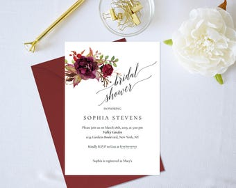 Bridal Shower Invitation Template,Floral Bridal Shower Invitation,Bridal Shower Invitation Printable,Burgundy,Bridal Shower Invitation PDF