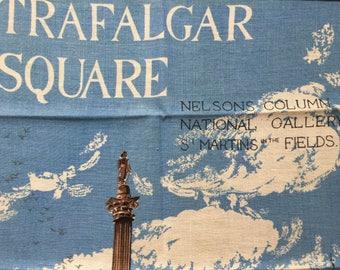 Vintage Souvenir LONDON Trafalgar Square Linen TEA kitchen dish Towel Lord Nelson's column