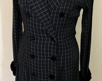 1980's Vintage Black Pinstripe Suit Dress