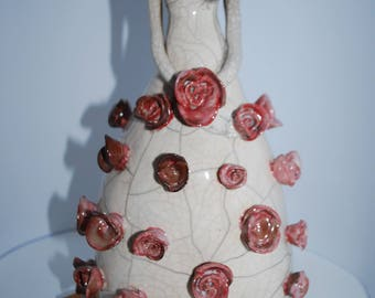 Woman art sculpture figurine modern ceramic raku red pink quilts