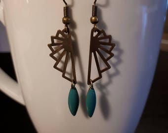 Bronze earrings, turquoise colored beads