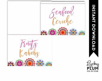 Fiesta Food Tent Card / Mexican Food Tent Card / Fiesta Place Card / Mexican Place Card /Colorful Suzani Folk Art / DIY Printable FT01