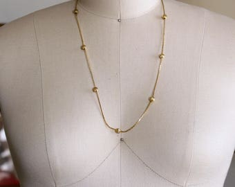 delicate vintage shiny gold satellite chain necklace, vintage layering necklace, dainty chain