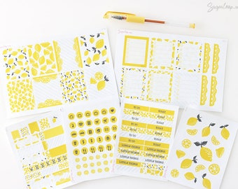 lemon theme planner stickers, choose from decoration kit or individual sheets, summer, decor, fruit, page flags, full box, icons DSG2