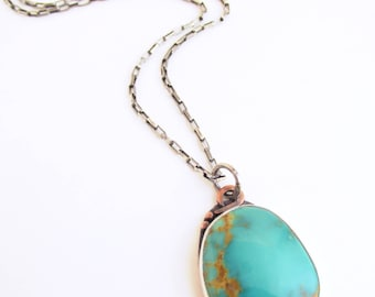 Kingman Turquoise - Sterling Silver and Copper - Specimen Pendant and Necklace Chain - Metalsmith - Rachel M Post