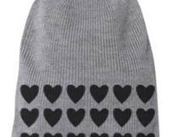heart print beanie, graphic beanie, hat, screen printed hat, heart beanie, print beanie, free shipping