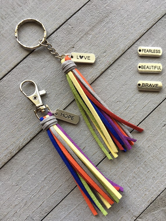 "Rainbow Tassel Keychain - 3.5"" Faux Suede Tassel with Message Charm- Gift Under 10, Inspirational Gift, Purse Charm, Handbag Charm (ST123)"