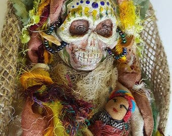 Calavera, Muertos Kitchen Witch,  Curandera, Santa Muerte ,Transformation, Assemblage Art doll , Halloween Decor OOAK