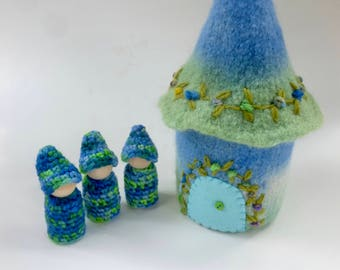 Gnome cottage Felted Wool Gnome Home peg dolls ready to ship