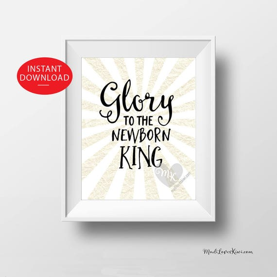 Glory to the Newborn King, Christian Art Print, Christmas Decor ...
