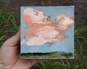 Bright Blue Sky, Pink Clouds, Small Format Art, Original Painting, Landscape Painting, 4x4, Home decor, Office art, Wall art, Gift, Winjimir