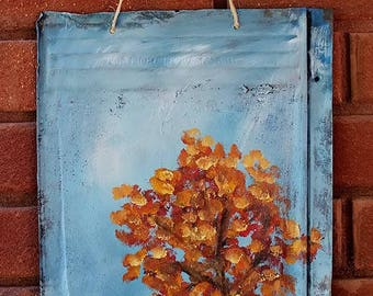 Fall Tree Painting, Trees, Leaves Vintage Metal, Autumn, Fall Decor, Gift, Original Painting, Home Decor, Art, Porch, Patio, Winjimir,
