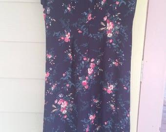 Vintage Ralph Lauren 90s Romantic Grunge Long Floral Print Silk Dress Size 10 Petite