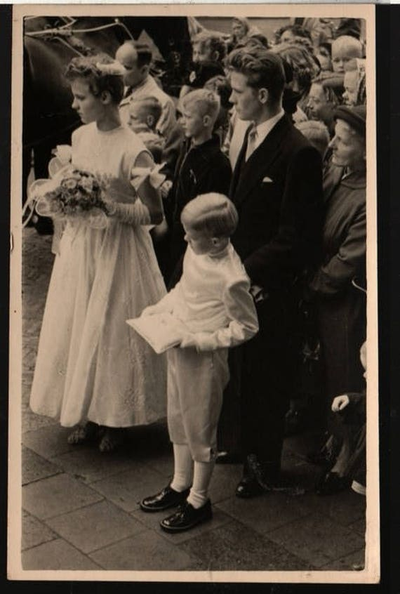 Ring Bearer and Flower Girl - Vintage Wedding Party Photo Postcard