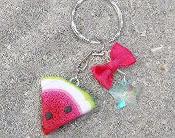 Keychain Watermelon Slice with Red Ribbon and Crystal Star - Lovely Accessory for Summer Fashion