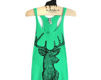 Holiday Womens Tank- Large Tri-Blend Green Racerback Tank with Deer Screen Print SALE