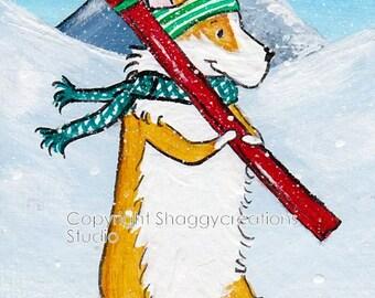Christmas Skis Corgi Art Card Original Painting ACEO ~ Animal Art ~ Pembroke Welsh Corgi Art ~ Christmas Snow Skiing ~ Nursery Decor ~