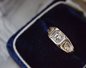 Antique style camphor leaf diamond ring   18k rose & white gold   square engagement ring   Victorian gentlemen's octagonal ring   protection