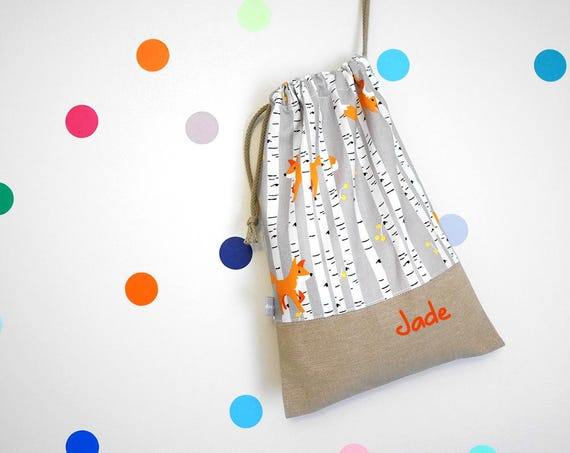 Customizable drawstring pouch - kids - kindergarden - fox - foxes - trees - woods - orange - personalised - cuddly toy - slippers - toys