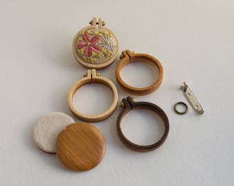 Kit NO laser Mini hoops embroidery frames - Premium hardwood - Two tone reversible - (MH33-R) - 33 mm