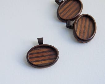 Fine finished hardwood bezel pendant - Walnut and mahogany - 24 x 34 mm cavity - (A33c-WM) - Organic bail