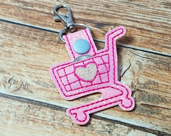 Quarter Keeper, Pink Shopping Cart Quarter Holder, Quarter Keeper FOB, Quarter Holder Keychain, Buggy Quarter Keeper, Quarter Purse Charm