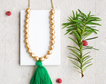 Gold Bead Tassel Necklace, Gold Beaded Necklace, Long Gold Bead Necklace, Long Green Tassel Necklace, Green Tassel Necklace, Holiday Jewelry
